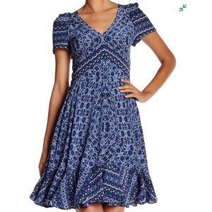 Rebecca Taylor Blue Silk peplum hem midi dress